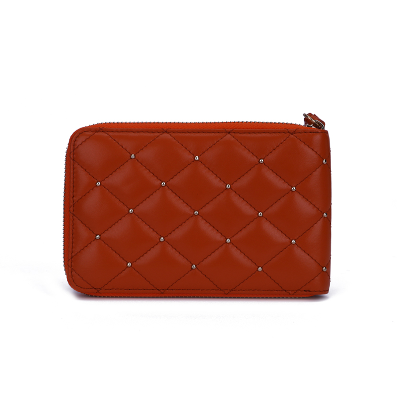 quilting leather women wallet with studs